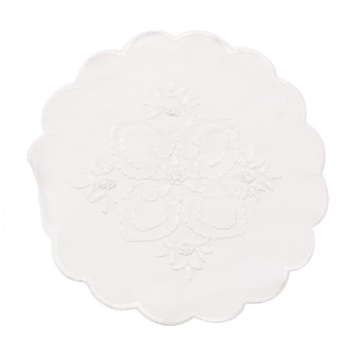 Deckchen Tischset Platzdeckchen weiß ca. Ø 20 cm