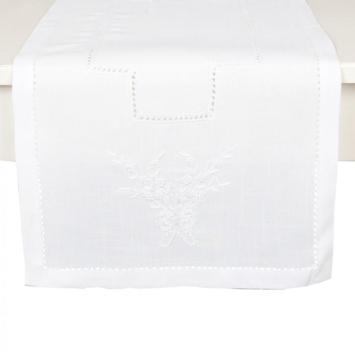 Tischläufer Tischdecke weiß ca. 40 x 90 cm