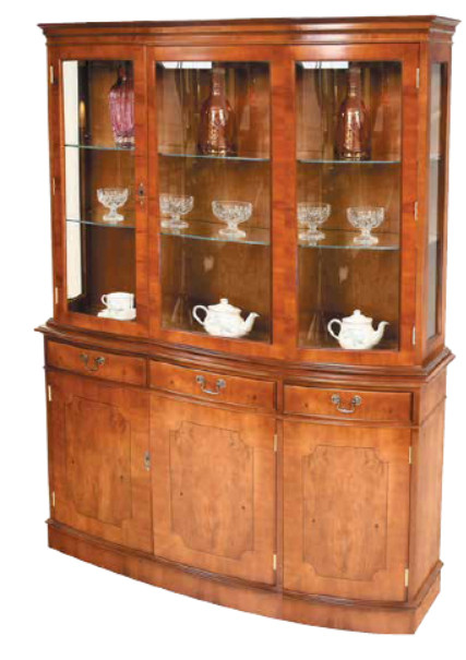 "Triple Vitrine Buffetschrank ""Bow Fronted"""