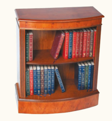 """""""Niedriges Bücherregal gebogen"""" aus Mahagoni - auch in Eibe erhältlich"""