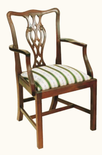 """Ribbon Back"" Stuhl mit Armlehne in Mahagoni - ebenfalls in Eibe erhältlich"