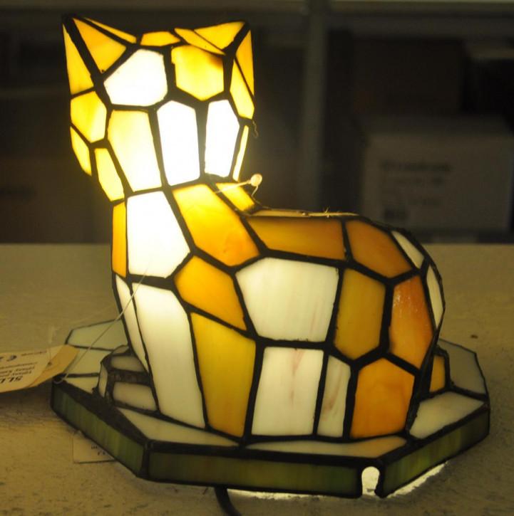 Wandlampe im Tiffany-Stil Katze 23 x 17.5 x 19.5 cm