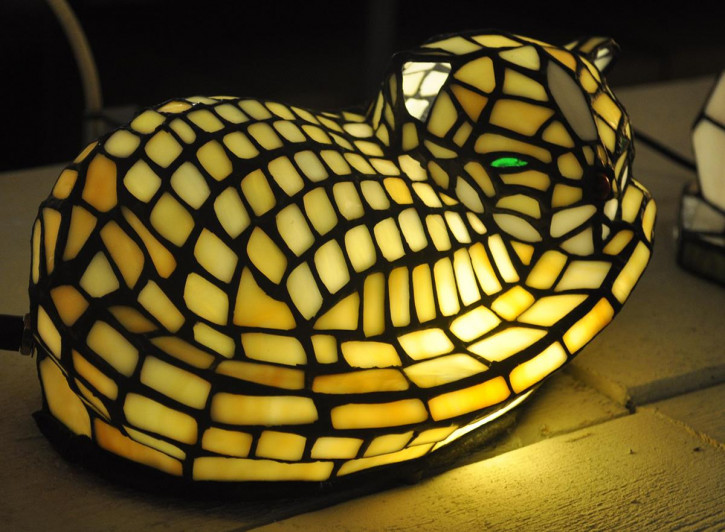 Dekolampe im Tiffany-Stil Katze 12x30cm