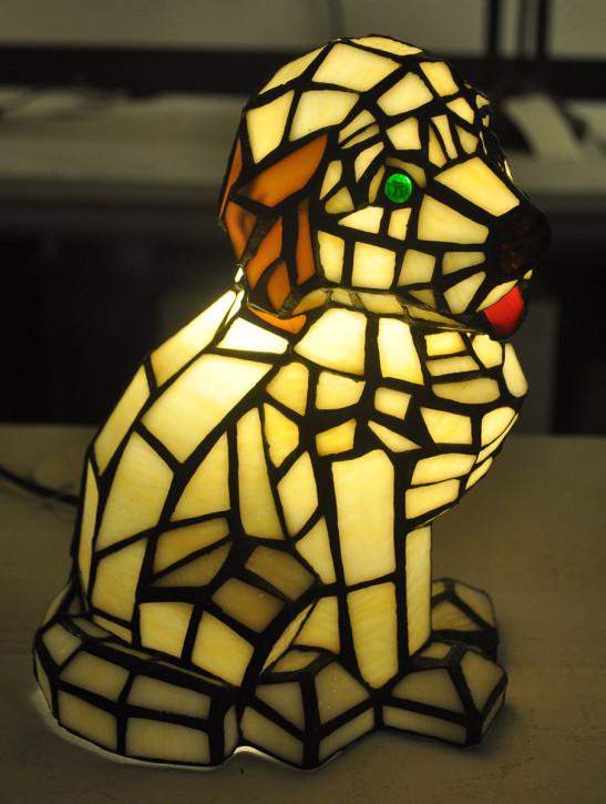 Dekolampe im Tiffany-Stil Hund 24x17cm