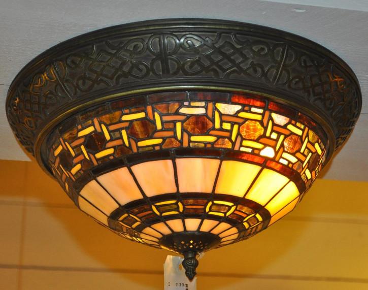 Deckenlampe im Tiffany-Stil klassisch braun 19x38cm