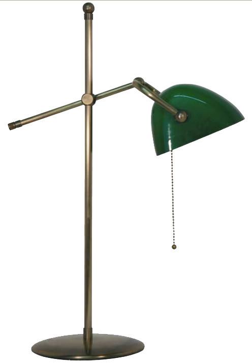 Schöne Bankerslamp Tischleuchte mit grünem Glas