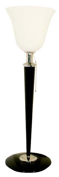 Art-Deco Stehleuchte, Lampe, Beistelllampe Nickel/Schwarz, 82 cm