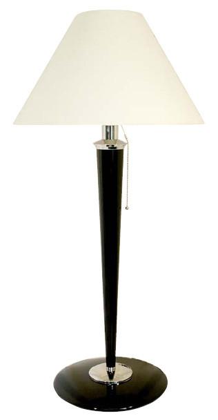 Art-Deco Stehleuchte Holzleuchte Wohnzimmer Lampe Nickel/Schwarz, 82 cm