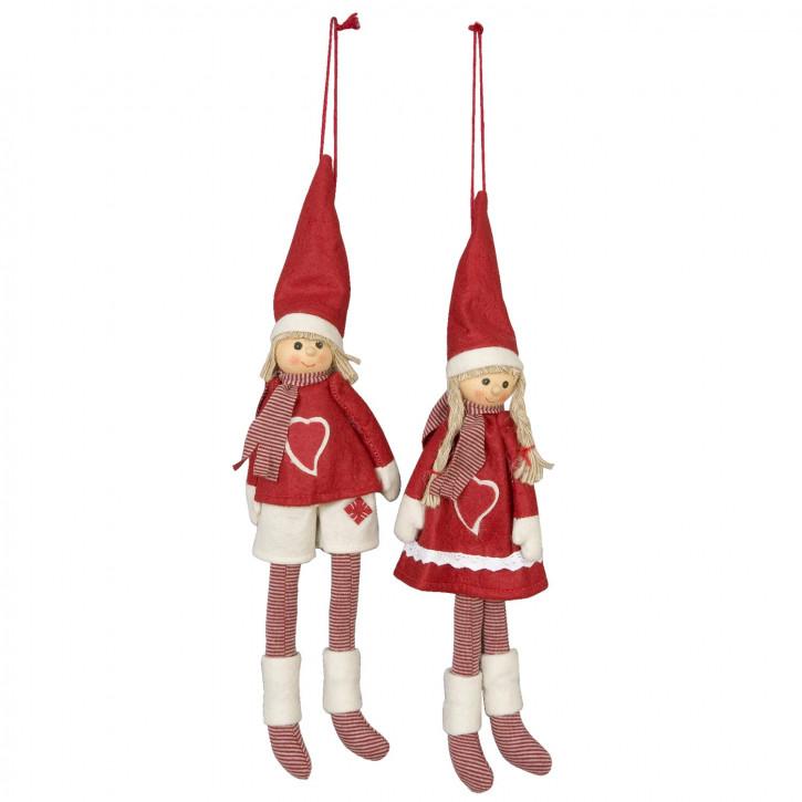 Puppen-Pärchen zum Aufhängen, in rot/weiß gestreift