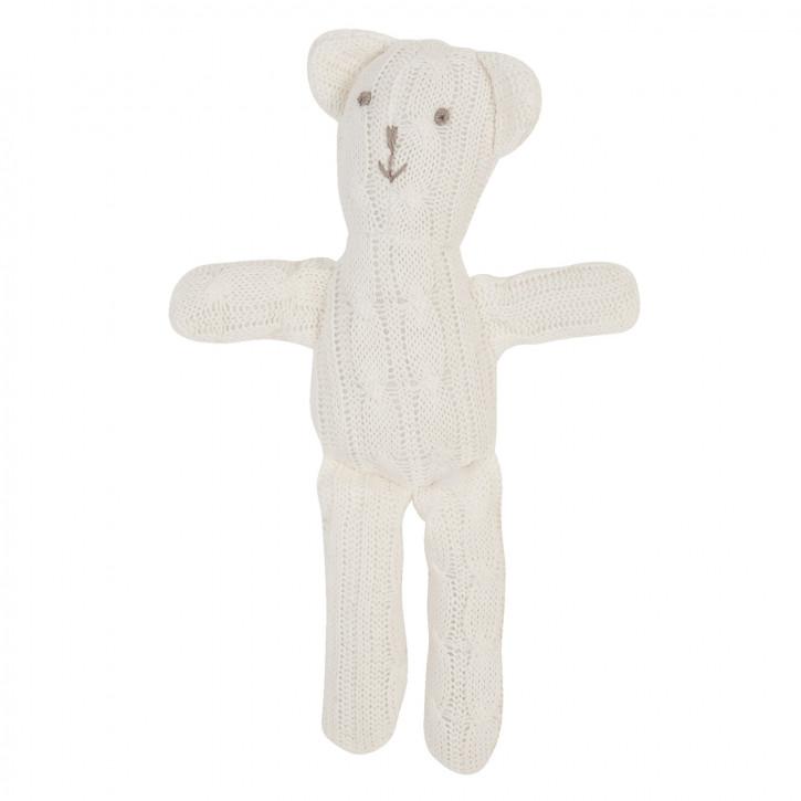 Weißer Strick Deko Teddybär 25cm