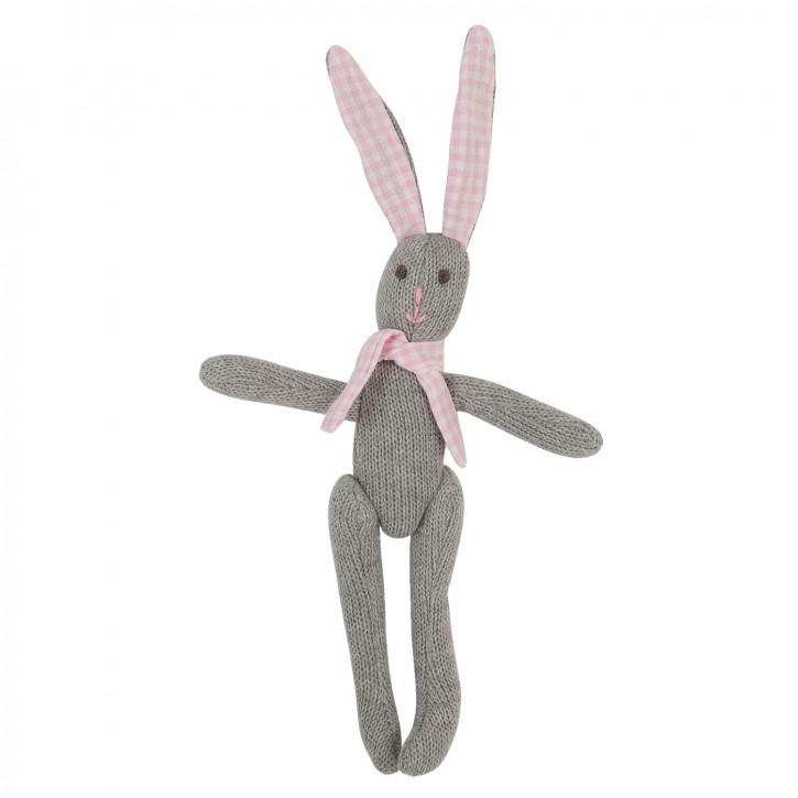 Stoff-Kaninchen mit rosa Ohren, in grau