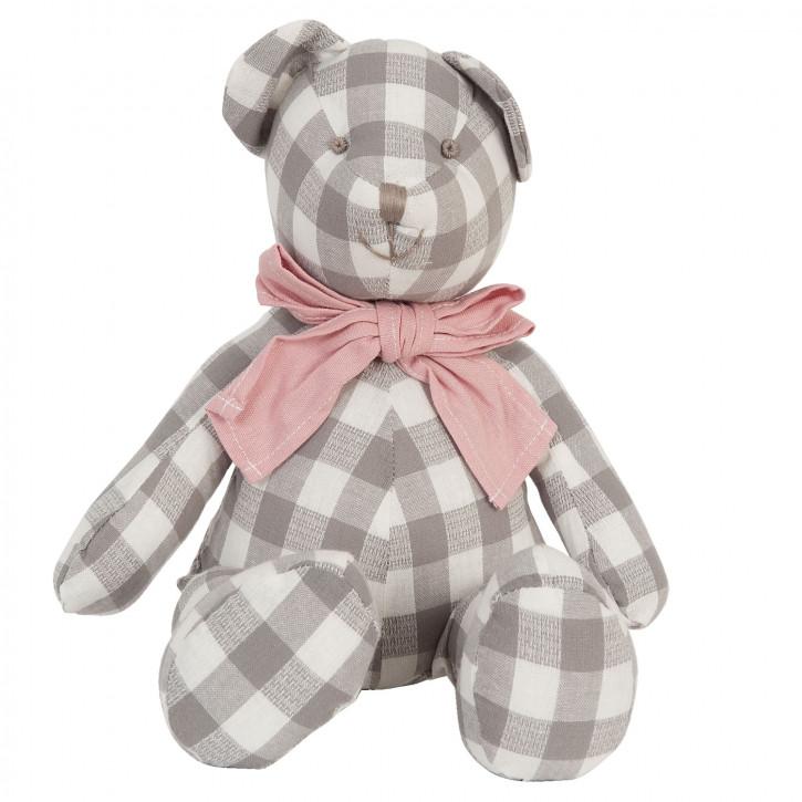 Deko Teddybär grau weiß kariert 40cm