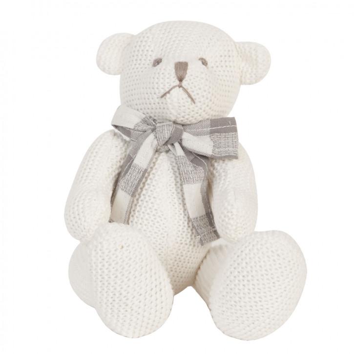Teddybär mit Schleife weiß Strick 16cm