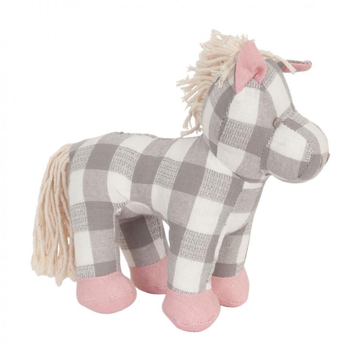 Kariertes Stoff-Pferd mit rosa Hufen und Ohren