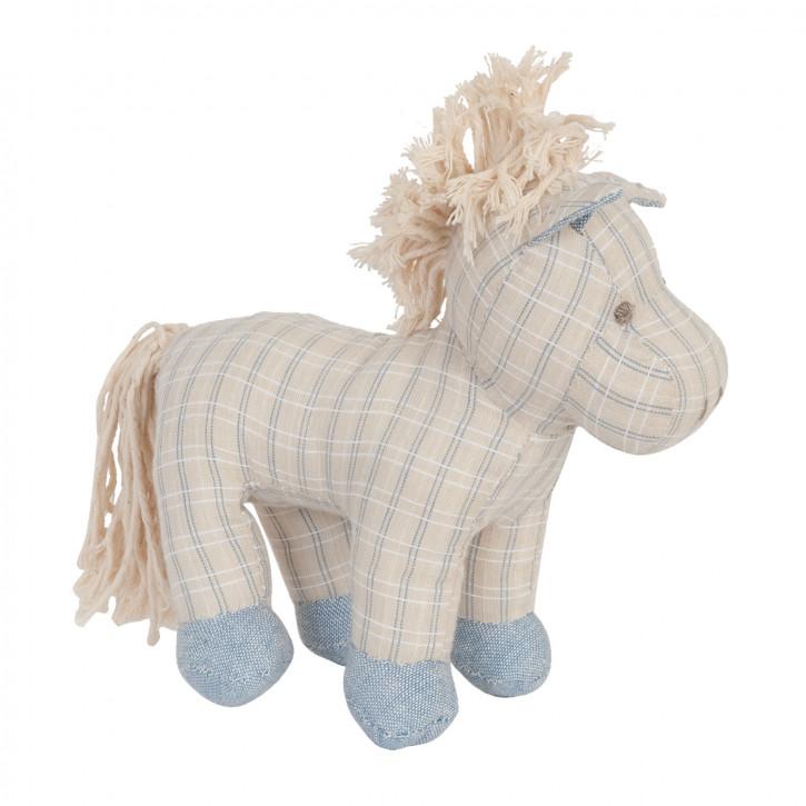 Gestreiftes Stoff-Pferd mit blauen Hufen, in beige