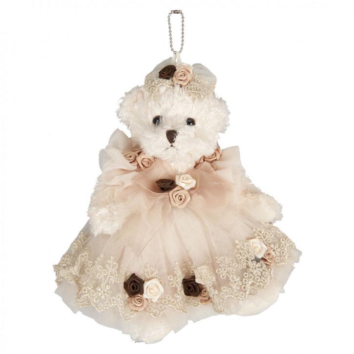 Deko Dekoration Anhänger Stofftier Kuscheltier Bär Teddybär mit Kleid ca. 20 cm