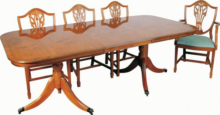 Esstisch mit Zwillings-Tischbeinen aus Mahagoni