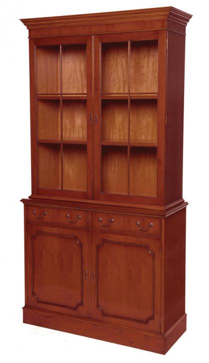 2-Türiger Bücherschrank mit Schubladen in Mahagoni