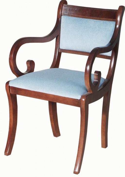 Englischer gepolsterter Mahagoni Stuhl