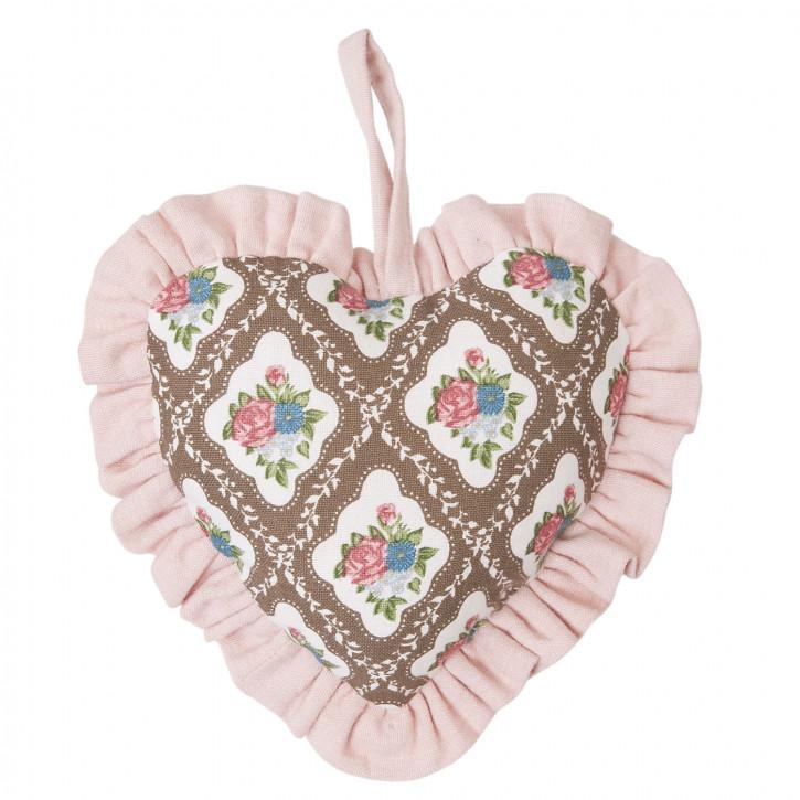 Schönes Deko Herz zum Aufhängen, rosa/braun