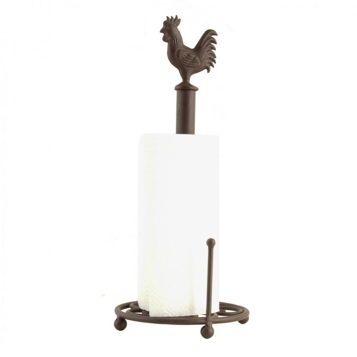 Küchenrollenhalter Küchenpapierhalter Metall braun- antik Hahn Landhaus 18 x 43 cm