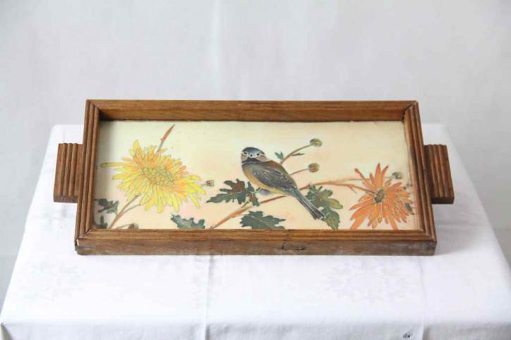 Tablett 1920 Holz Vögel