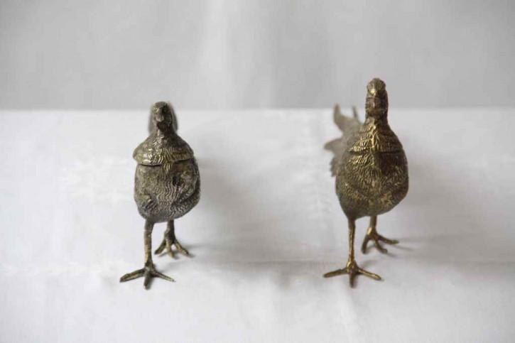 Tischdekoration Fasane Paar France Messing