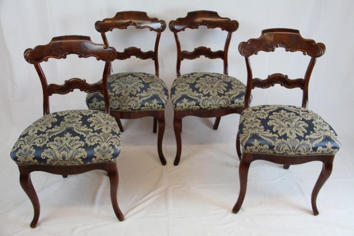 4er Satz Ballon Stühle aus Mahagoni im Queen Anne Style