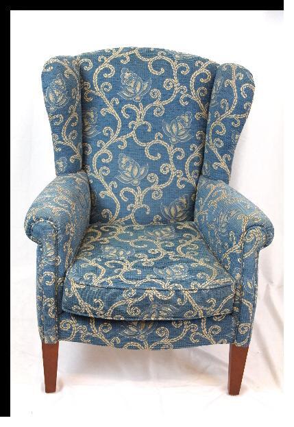 Ohren-Sessel mit Fußhocker  Queen Anne Stil