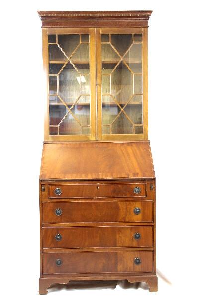 Bureau Bookcase Mahagoni Massiv mit Original Patina