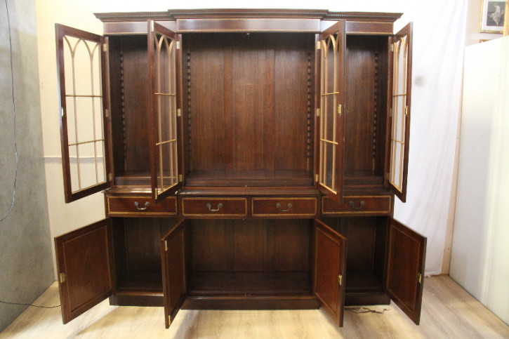 Bücherschrank Bookcase aus Mahagoni mit Bandintarsien