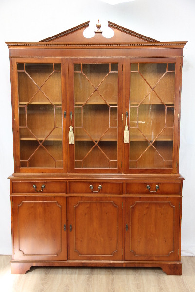 Three Door bookcase Eibe Yew Regency Glazing