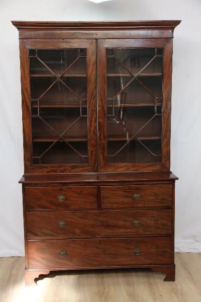 Mahagoni Bookcase on chest Vitrinenschrank Massivholz England