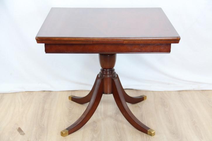 Ausziebarer Mahagoni Esstisch mit Intarsien Massivholzsockel