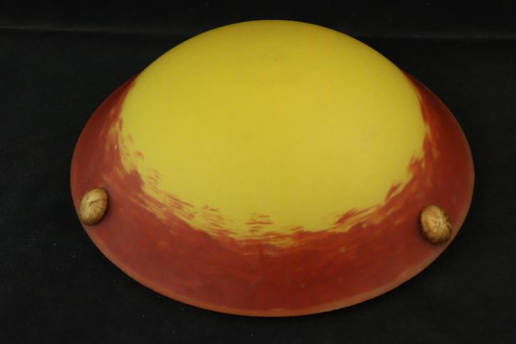 Lampe Frankreich Gelb Orange Rot mit Seilaufhängung Antik