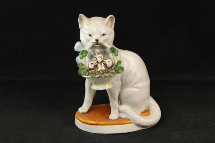 Katze Figur Statue mit Körbchen