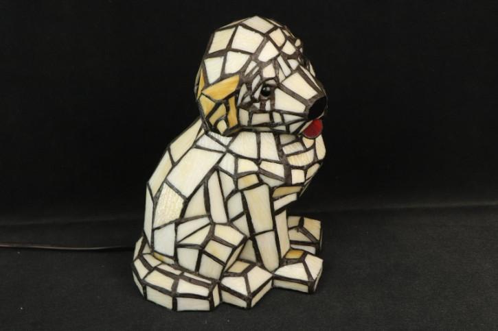 Tiffany Tischleuchte Hund Weiss Mosaik