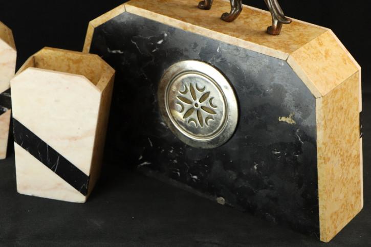 Uhr mit Pantherfigur  Art Deco Marmor Original