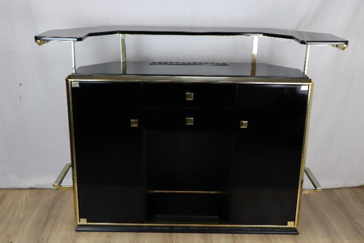 Bar Schwarz Gold Art Deco vintage 60er  Klavierlack