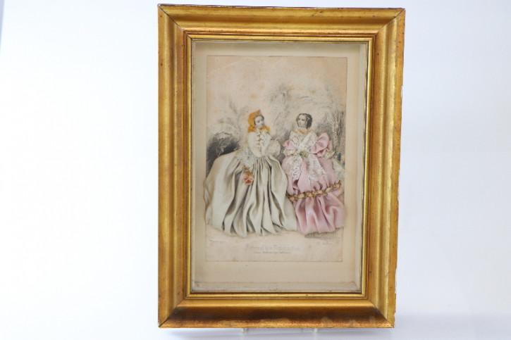 Antike Zeichnung zweier Damen, mit Rahmen