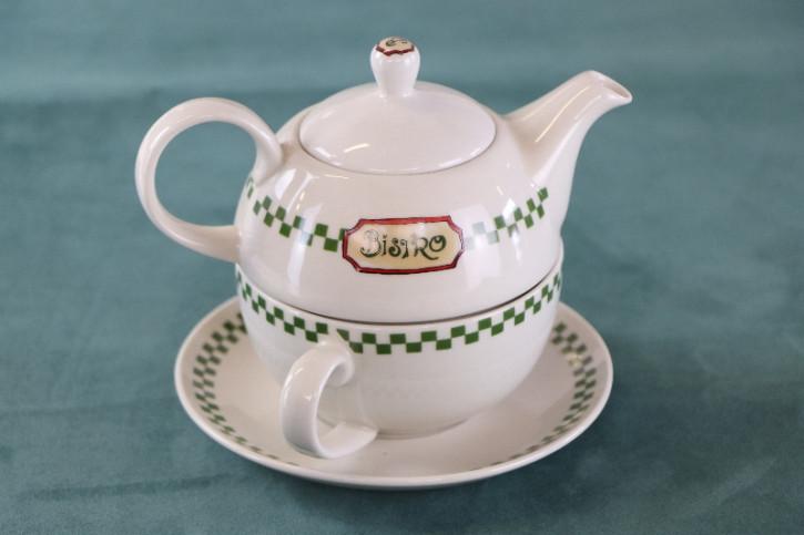 Antikes Original Bistro Teekannen Set aus Porzellan