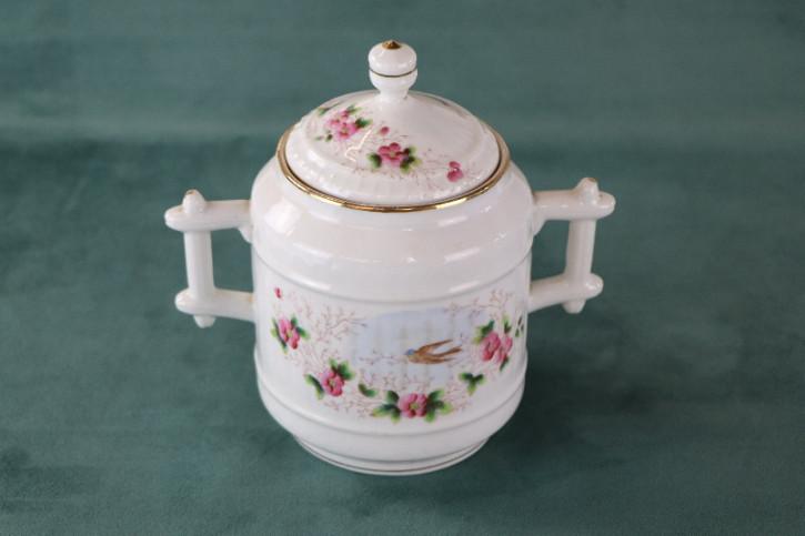 Antiker Behälter aus Porzellan mit floraler Bemalung, Goldrand