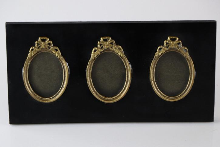Antiker Stehender Bilderrahmen für drei Portraitbilder, Oval