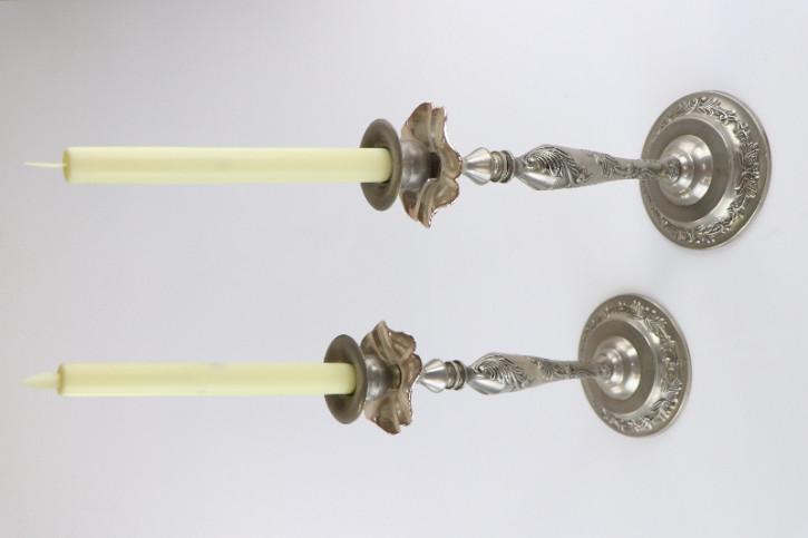Antikes Silbernes Kerzenständer Set, Florale Motive