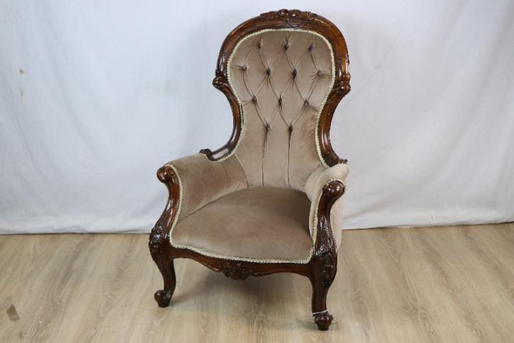Stoffbezogener Sessel Holzelementen Viktorianisch