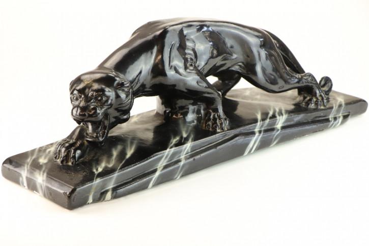 Schwarzer Panther, Original Art Deco Pantherstatue, Art Deco signiert Frankreich