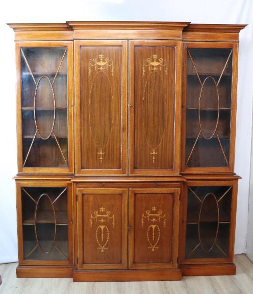 Breakfront Bookcase Bücherschrank Mahgoni Massiv