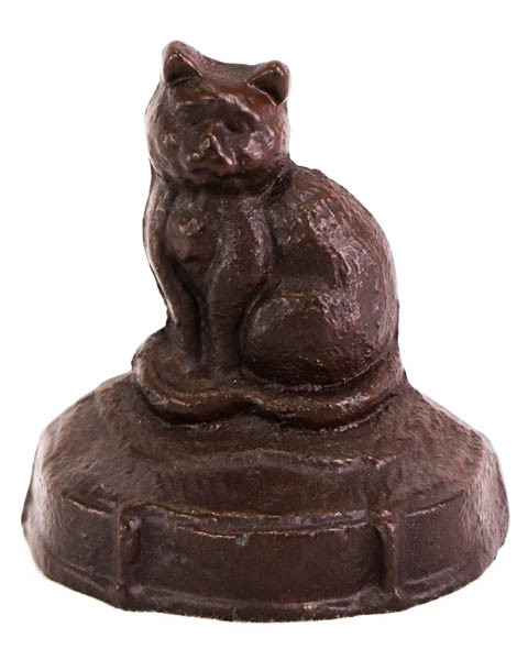 Niedlicher Vintage Türstopper aus Eisen, Katzen Motiv