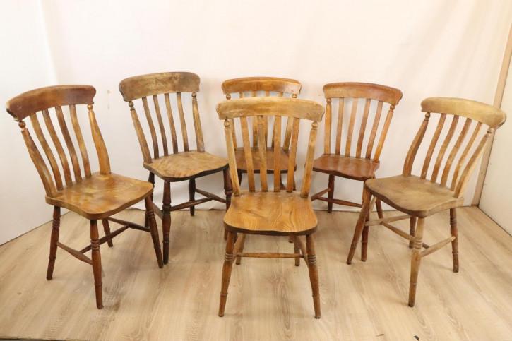 6er Set antike Windsor Stühle im Landhausstil, 19. Jh., mit Sitzflächen aus Rüsterulme