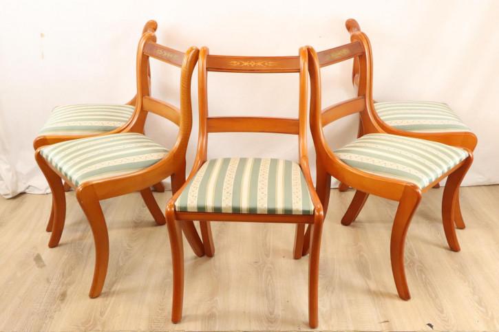 5er Set antike Holzstühle mit schönen Verzierungen, viktorianischer Stil